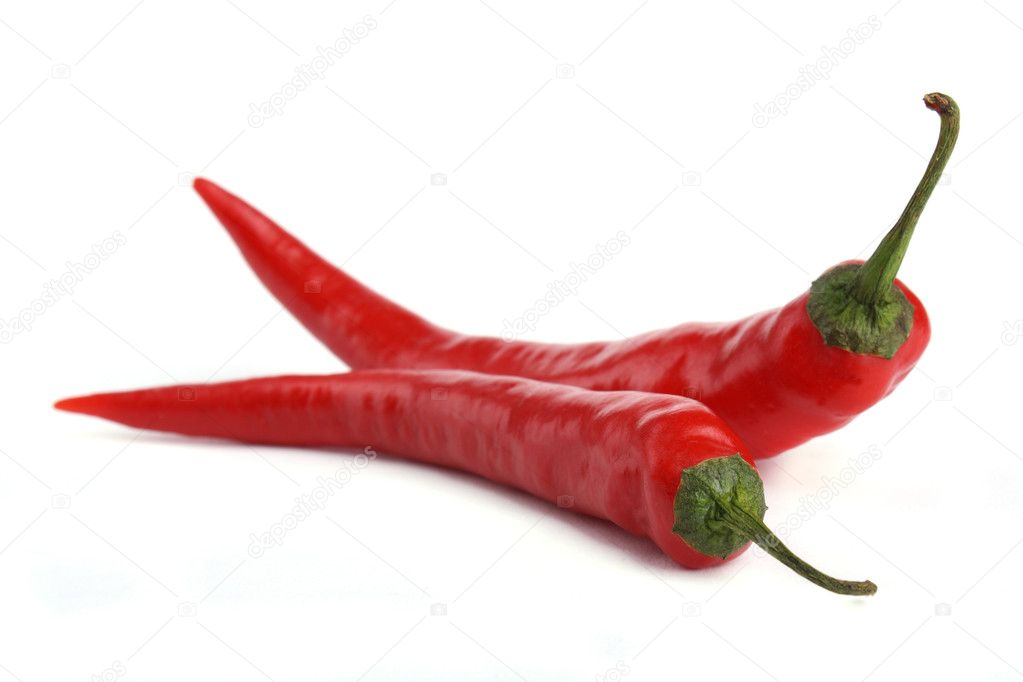 Close up two Red chili pepper isolated on white background — Stock Photo #4512447