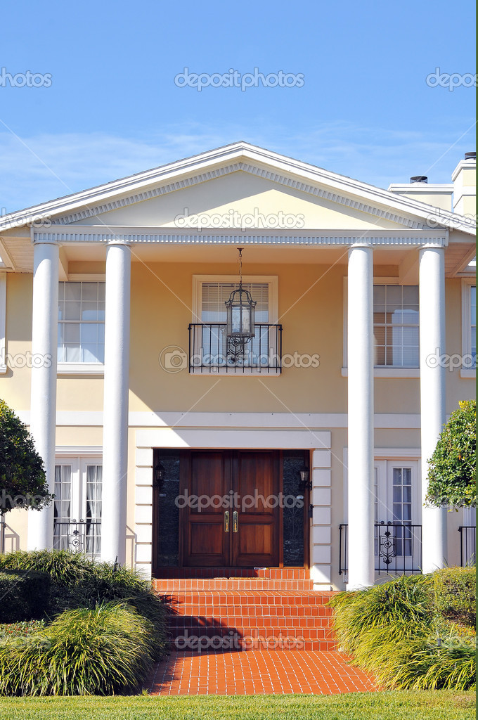 Elegant entrance to beautiful colonial home stock photo amasterimage 4532142 - Elegant colonial architectural designs ...