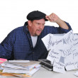 Man and his financial dilemna - Foto Stock