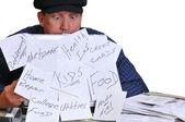 Man looking down at his bills. — Stock Photo