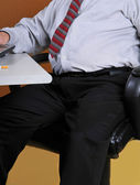 Overweight business man at his desk — Stock Photo