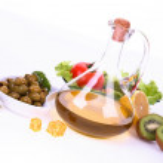 Fresh fruit, vegetables and olive oil bottle — Stock Photo #5315922