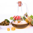 Fresh fruit, vegetables and olive oil bottle — Stock Photo