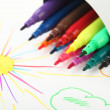 Stock Photo: Felt-tip pens and drawn sun