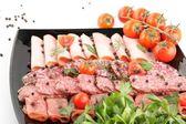 Sausage cutting — Stockfoto
