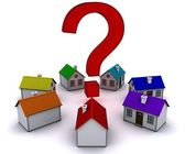 Seven houses in a circle in the middle of a question mark — Stock Photo