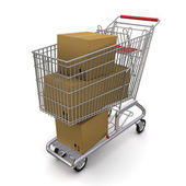 Closed cardboard box in the trolley — Stock Photo