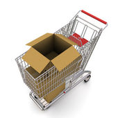 Open cardboard box in the trolley — Stock Photo