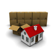 House from a cardboard box — Stock Photo