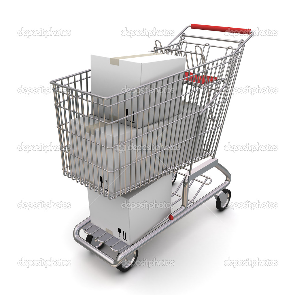 Shopping cart with boxes. 3d rendering on white background  Stock Photo #5271488