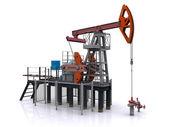 Oil pump-jack on a white background. 3d rendering — Photo