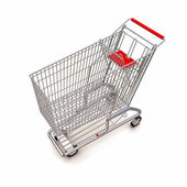 Trolley from the supermarket. 3d rendering on white background — Stock Photo