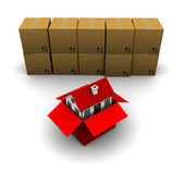 House from a cardboard box on the background of the group boxes — Foto de Stock