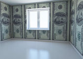 Wallpaper patterned dollar as a symbol - the money for repairs. 3d renderin — Stock Photo
