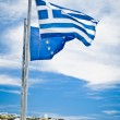 Greek and EU Flags — Stock Photo