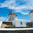 Stock Photo: Windmills of Mykonos