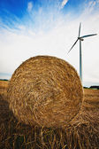 Haybale and Wind Turbine — Stock Photo