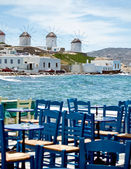 Dining in mykonos — Stock Photo