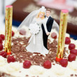 Wedding Cake with Sweet Couple - Stock Photo