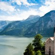 Stock Photo: Church of Hallstatt with Lake