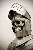 Skeleton in a knights Armor — Stock Photo