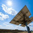 Solar Station against the Sun — Stock Photo