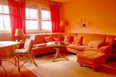 оранжевый гостиная — Стоковое фото