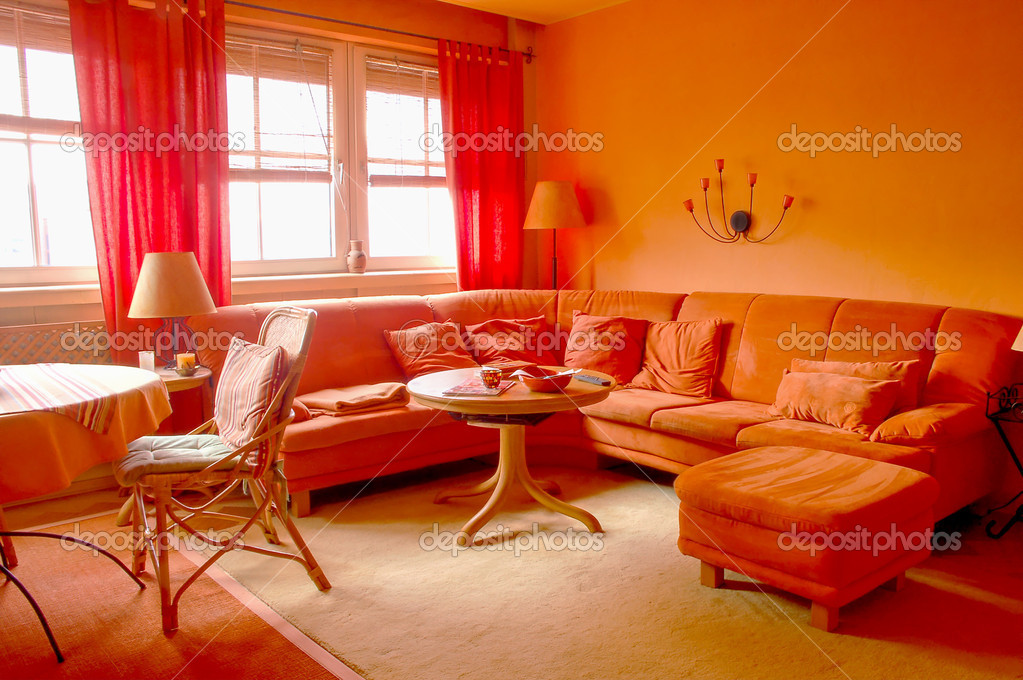 Orange Furniture And Wall In A Living Room