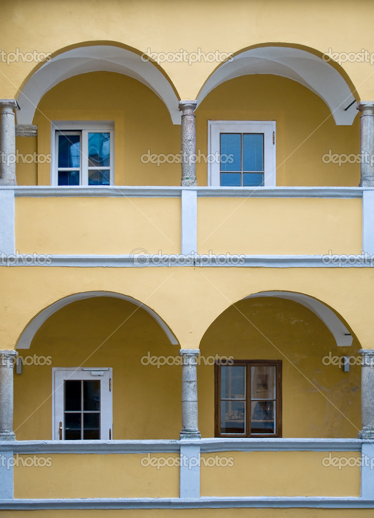 Arcade of a yellow baroque House, taken in Austria — Stock Photo #5206551