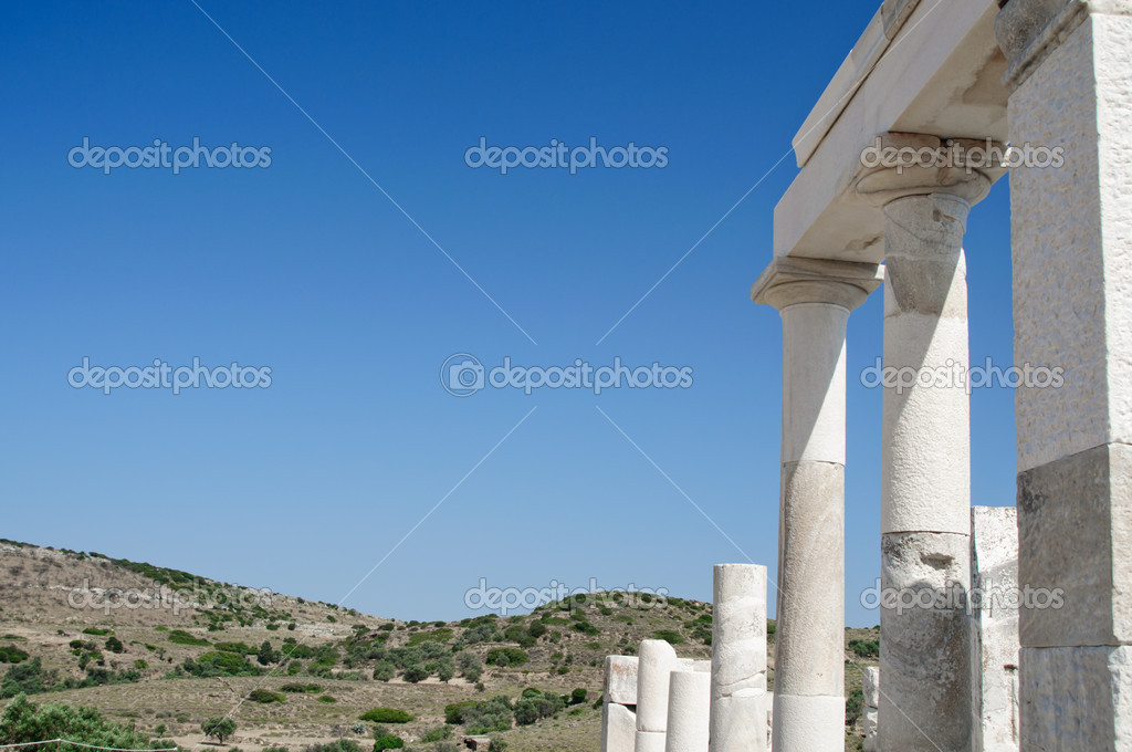 Columns in Delos, an Isle in Greece  Stock Photo #5218196