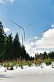 Wind Turbine in Snow Landscape — Stock Photo