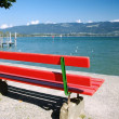 Red Bench by the Lake — Stockfoto