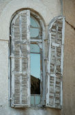 Old window in Bauhaus style building — Stock Photo