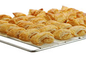 Baking grid with fresh baked bourekas — Stock Photo