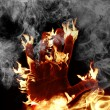 Hand on fire — Stock Photo