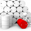 Hard working Guy with barrels — Stock Photo
