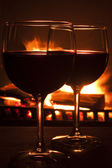 Drinks by the Fire — Stock Photo