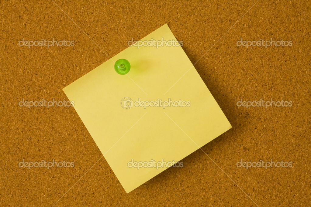 Post it note on a bulletin board — Stock Photo #4581119