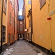 Street of old town (Gamla Stan), Stockholm - Stock Photo