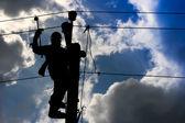 Elektrisch aangedreven elektrische paal skyline — Stockfoto