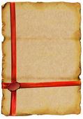 Old paper with sealing wax and red tape — Stock Photo