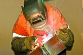 Welder works in mask — Stock Photo