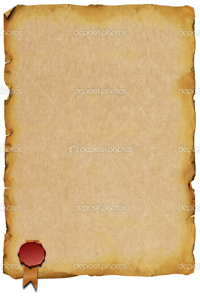 Old paper with sealing wax horizontal white background — Stock Photo #4553778