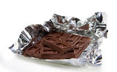 Chocolate bar in a foil — Stock Photo