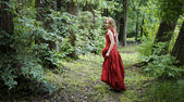 Woman in the woods — Stock Photo