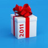 礼品,将绘制一条红丝带 — 图库照片