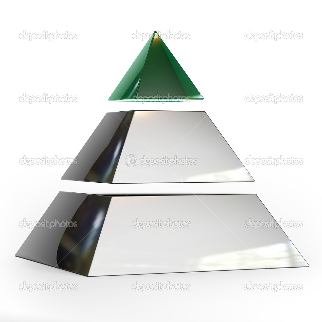 Pyramid of three parts with the top of the emerald — Stock Photo #4552944