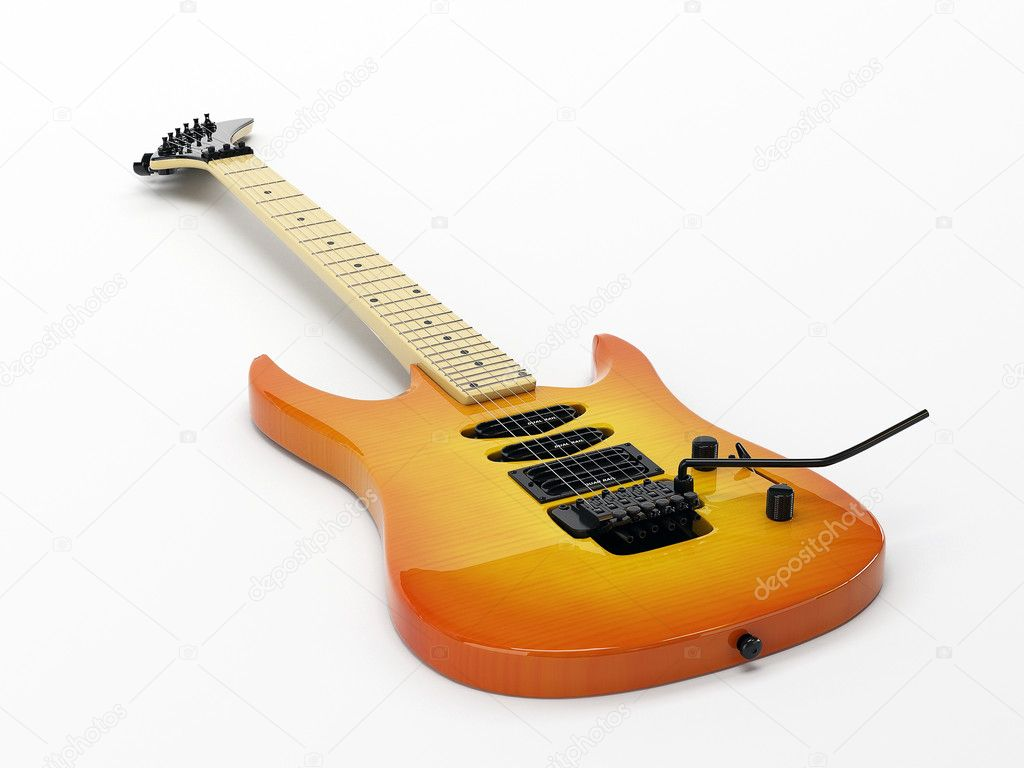 Yellow electric guitar with an orange tint. Located on a white background — Stock Photo #4552962