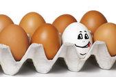 Eggs smiling — Stock Photo