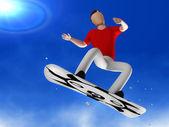 Snowboarder 3D man — Stock Photo